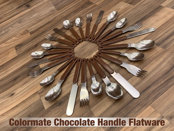 Vintage Stainless Flatware set Chocolate Brown Plastic Handles, Colormates Silverware Set Rustic Cabin Vintage Trailer Camping Glamping