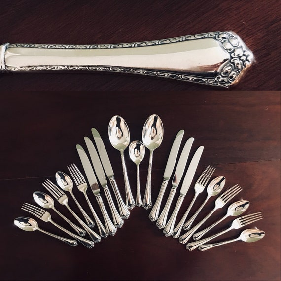 Easterling Rosemary Sterling Silverware set 1944 Collectible Sterling Silver Flatware Set with Serving Spoons Service for 6 Wedding gift