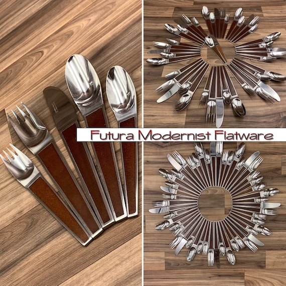 MId Century Modern Flatware Set RARE MOD Designer Silverware Set Stanley Roberts Futura service for 8, Faux wood handle, MINT condition