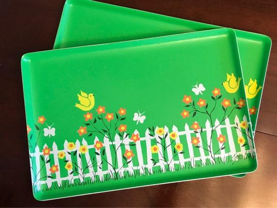 Vintage Serving Tray, Garden Print serving tray, designer Joyce Miller Original design, large Plastic serving tray, 1970 kitchenware, gift