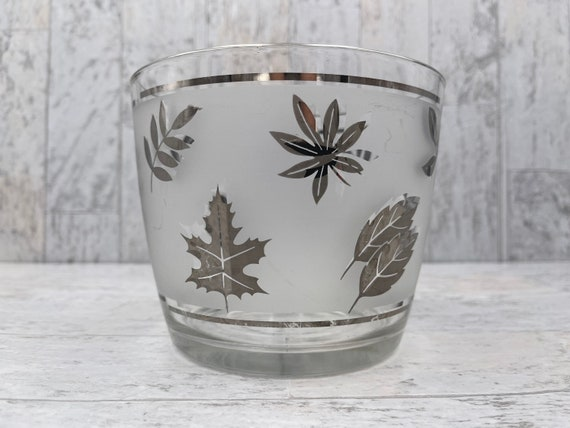 Vintage Silver Leaves Ice Bucket Libbey Glass MCM glassware