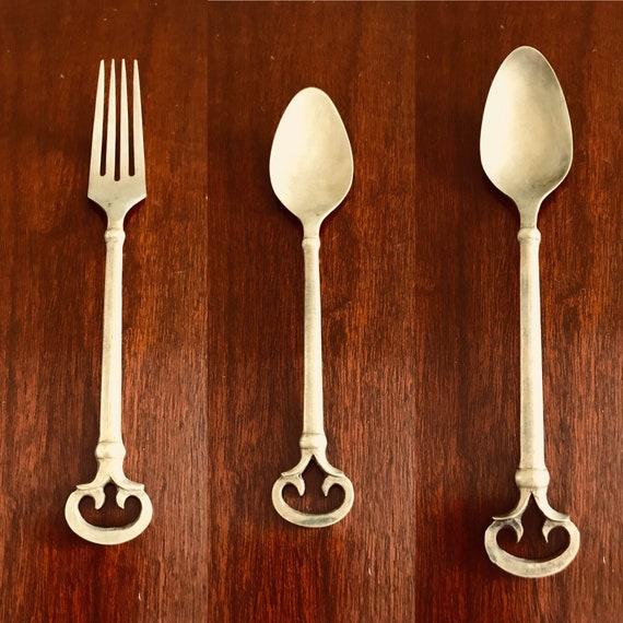 Pottery Barn Keys Flatware, Replacement Flatware by the piece, Antiqued Bronze Flatware, vintage Cast Bronze, Tuscan Decor, Choice