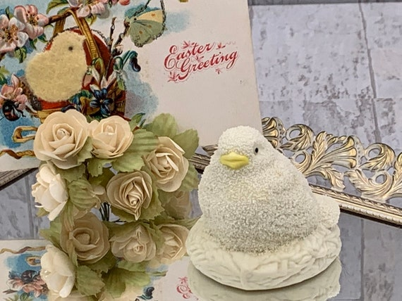 Vintage Dept 56 porcelain Chick, Easter Chick, Snowbabies chick, baby chick in a nest, Easter decor, springtime decor, collectible