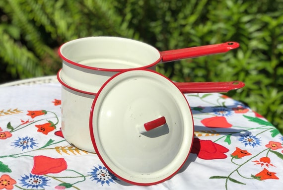 Vintage Red White Enamelware Pan, Enamel ware Double boiler, Enamel pan set, rustic farmhouse, country kitchen, collectible enamelware, gift