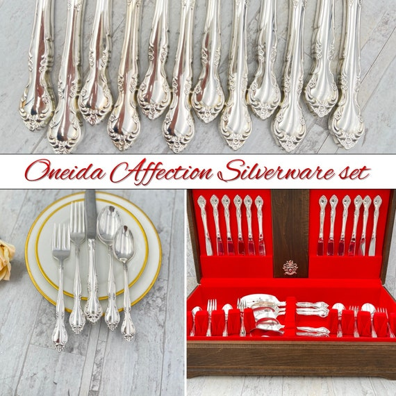 Vintage Silverware Set Oneida Community Affection Flatware Service for 12 with silverware chest, Wedding Gift