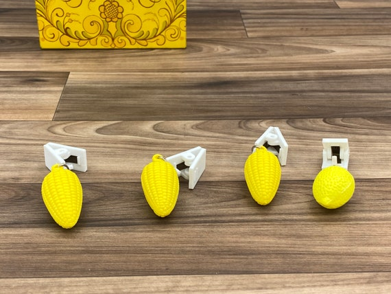 Vintage tablecloth clips, Yellow Curtain Weights, backyard barbecue outdoor entertaining rustic home decor