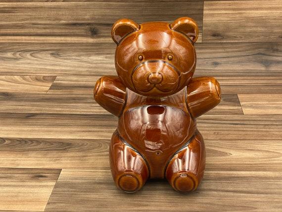 Vintage Ceramic Teddy Bear cookie jar, Aramis Made in Japan, Kitchen storage, Rustic lodge decor