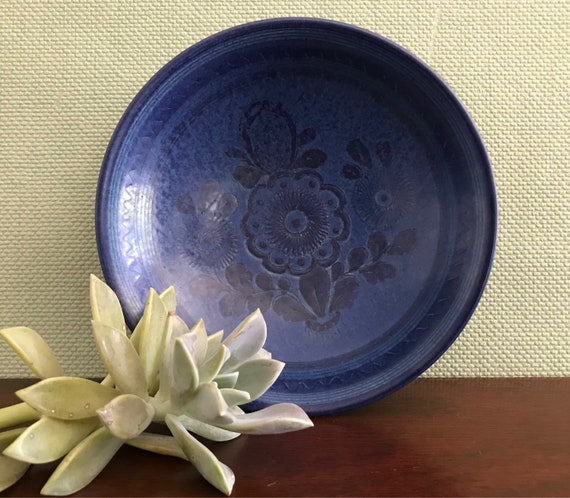 Mid Century Ceramic Blue bowl Signed by artist Willy Kagel Jr, West Germany Art Ceramics Rare wall art Blue Floral Folk Art ceramics