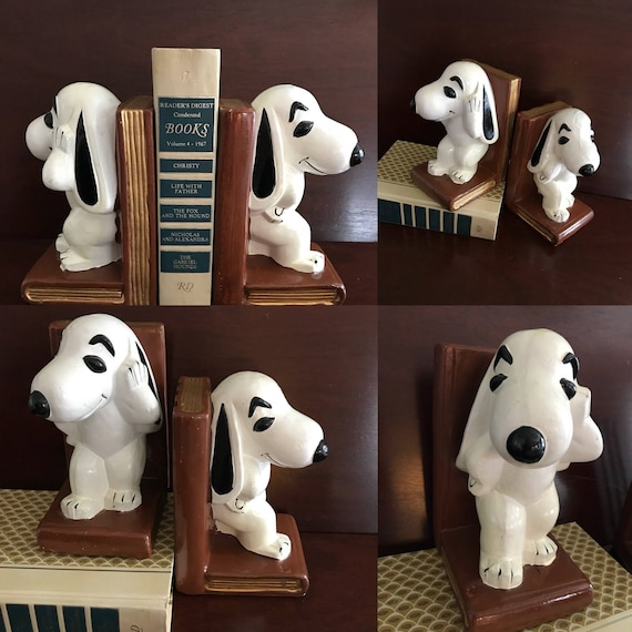 Snoopy Bookends Rare Collectible Painted Snoopy Dog bookends, Snoopy Beagle decor, Gift for Dog lovers, Peanuts Cartoon Character, library