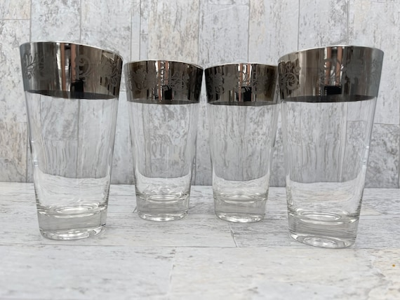 Vintage Silver Band glasses, floral pattern MCM Drinkware tumblers