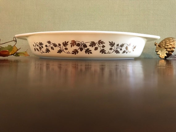 Vintage Pyrex Casserole Dish, Promotional Golden Acorn pattern, Divided Serving bowl, collectible Gift for her