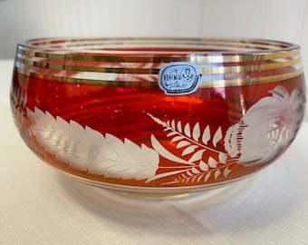 Vintage Bohemia Ruby Crystal bowl, Gold bands cut to clear floral design