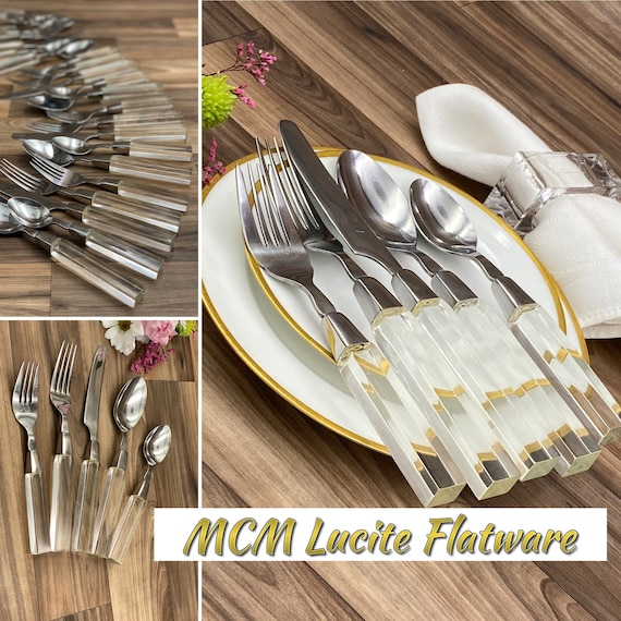 MCM LUCITE Flatware set with serving set, complete Service for 8, Silverware by Lifetime Cutlery Excellent Condition, Glam LUX Hollywood