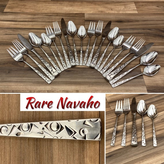 RARE Mid Century Stainless Flatware, Navaho by International Silver 1847 Rogers, Service for 4 with Serving set, Navajo Pattern Silverware
