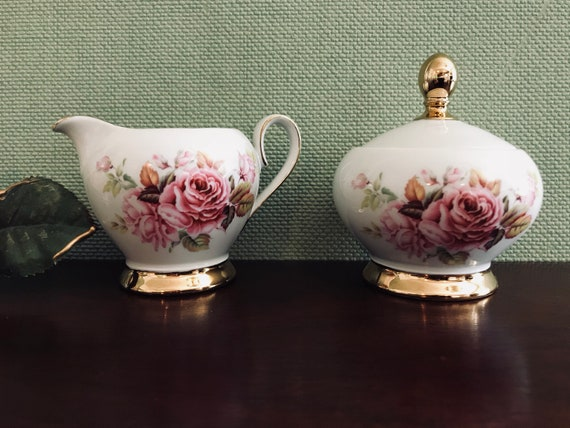 Seltmann Weider Cream and Sugar Set, Pink Rose Fine Bone China, Gold Gilt Collectible China, W Germany, garden party, Tea Party, gift