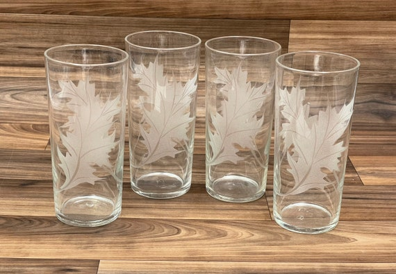 Mid Century Glasses, Set of 4 Etched Leaf Tumbler Glasses, Vintage Drink ware, Gifts for Him, Hollywood Regency, Gift