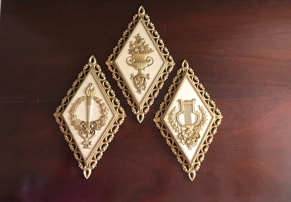 Hollywood Regency Style Wall Pictures, Vintage set of Homco Wall hangings, Gold and cream wall plaques, Wall decor, diamond shape wall art
