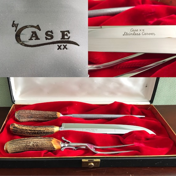 Vintage Meat Carving Set, Case Collectible Knife set, Rustic Home Decor