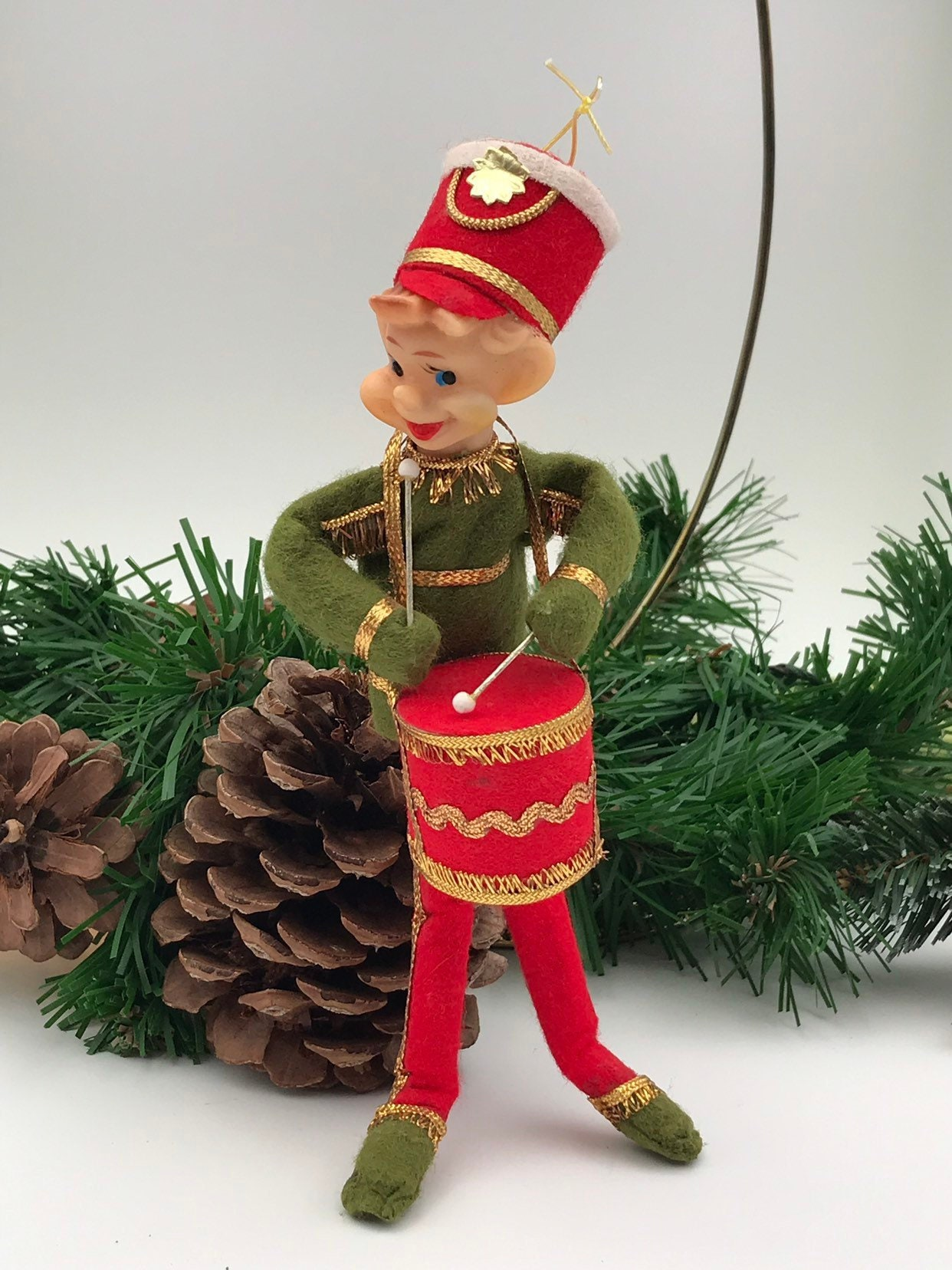 Christmas Drum Decor.Vintage Pixie Elf With Drum Ornament Christmas Elf Drum