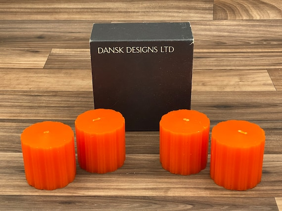 Vintage Pillar Candles by Dansk Designs Orange Candle Table Decor, Collectible candles