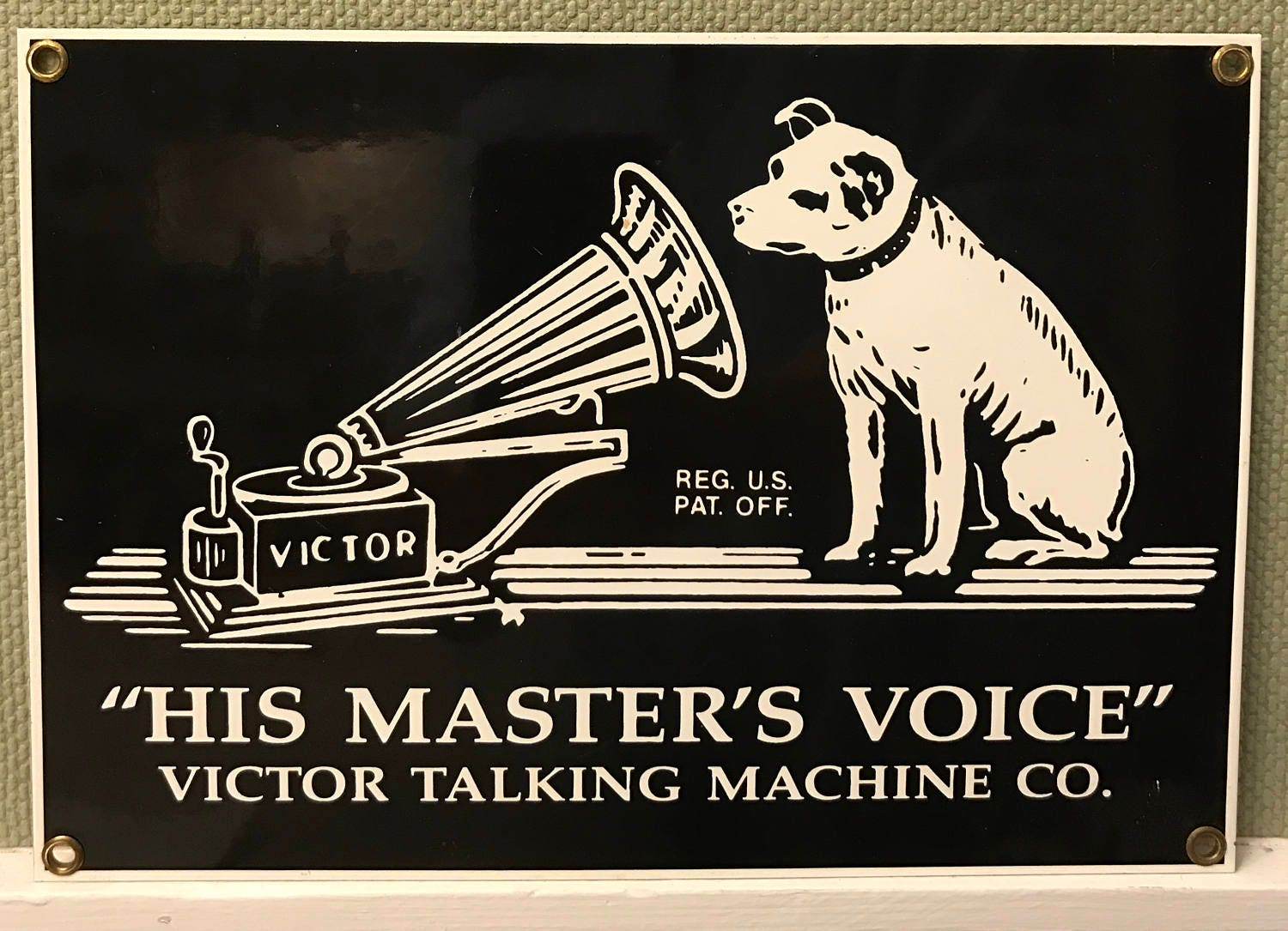 Victor Record player Sign, Victor Talking Machine Co  Ande