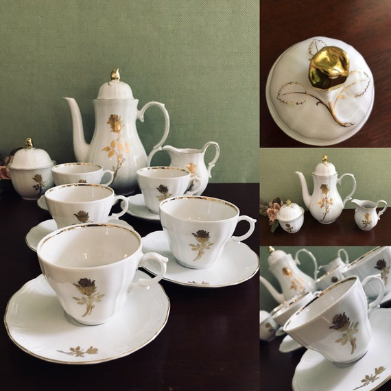 Vintage Wunsiedel Tea Set, Gold Gilt Rose Pattern, Bavaria Porcelain, Hollywood Regency, Garden Tea Party, wedding gift, collectible tea set