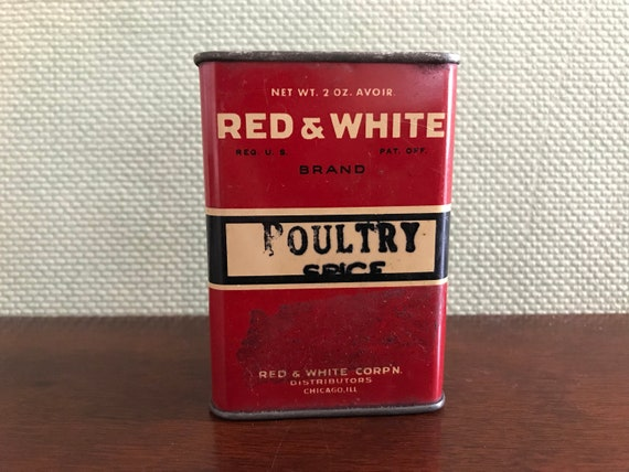 Vintage Red and White Spice Tin, Poultry Spice Tin, Collectible Spice tin, Metal Top Rustic Home Decor, Rustic Farmhouse, Cottage chic