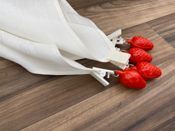 Vintage tablecloth clips, Red strawberry Curtain Weights, backyard barbecue outdoor entertaining rustic home decor