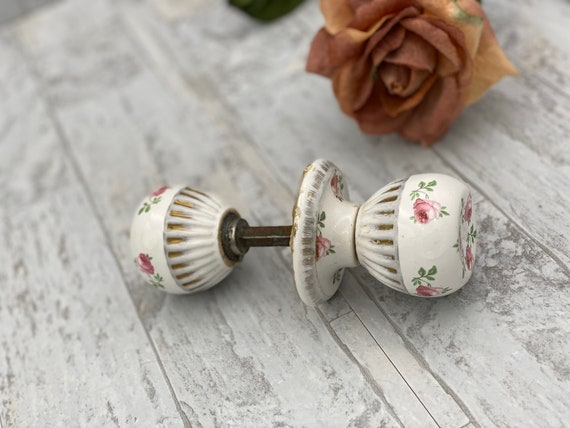 Porcelain doorknobs with pink roses and gold trim, reclaimed home hardware, Vintage doorknob assembly, Shabby Chic Home decor