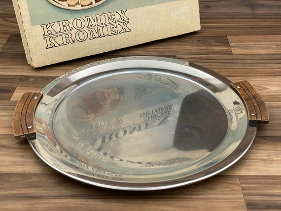 Vintage Kromex Serving Tray, Mid Century Chrome Tray, Wood Handled Tray, Rustic Home Decor, Hostess gift
