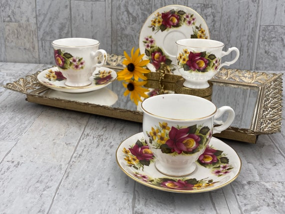 Vintage Floral Teacups, set of 3 Royal Kent Bone China Tea cup and saucers, footed Tea cups, gift for Her, Collectible