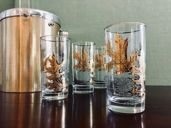 Mid Century Glasses, Set of 4 Gold Leaf Tumbler Glasses, Gold Leaves, Libby Gold Vintage Drink ware, Gifts for Him, Hollywood Regency, Gift