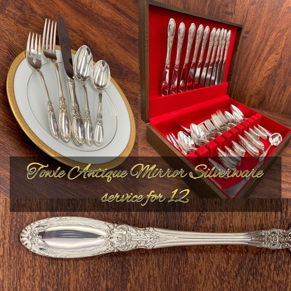 Vintage Towle Antique Mirror Silverplate Flatware Set, Ornamental scroll Flatware Service for 12 with Hostess set and silverware Chest