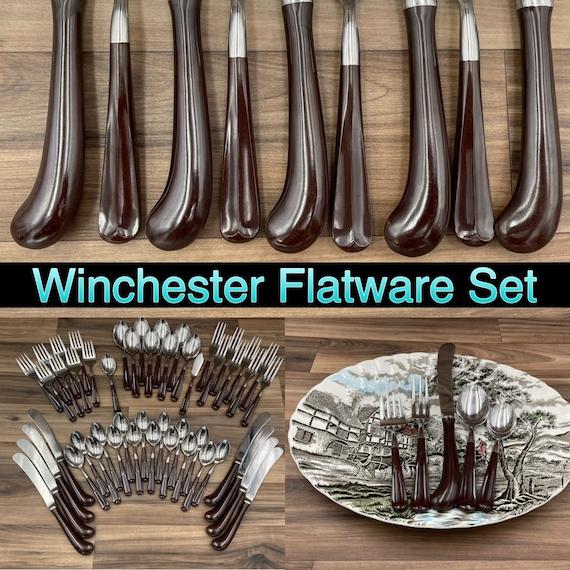 RARE Flatware set, NEW Oxford Hall Winchester Silverware, Service for 8, Country Kitchen, Rustic Home Cabin Decor