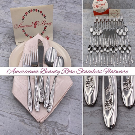 Vintage Stainless Flatware Americana Beauty Rose, Service for 8 Silverware set, Excellent Condition, wedding gift