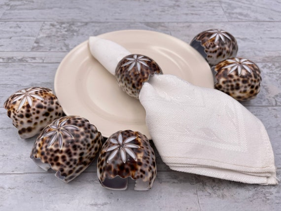 Vintage Seashell Napkin Rings, Brown Leopard Cowie shell Napkin holders, 6 pc set, beach house decor, Boho