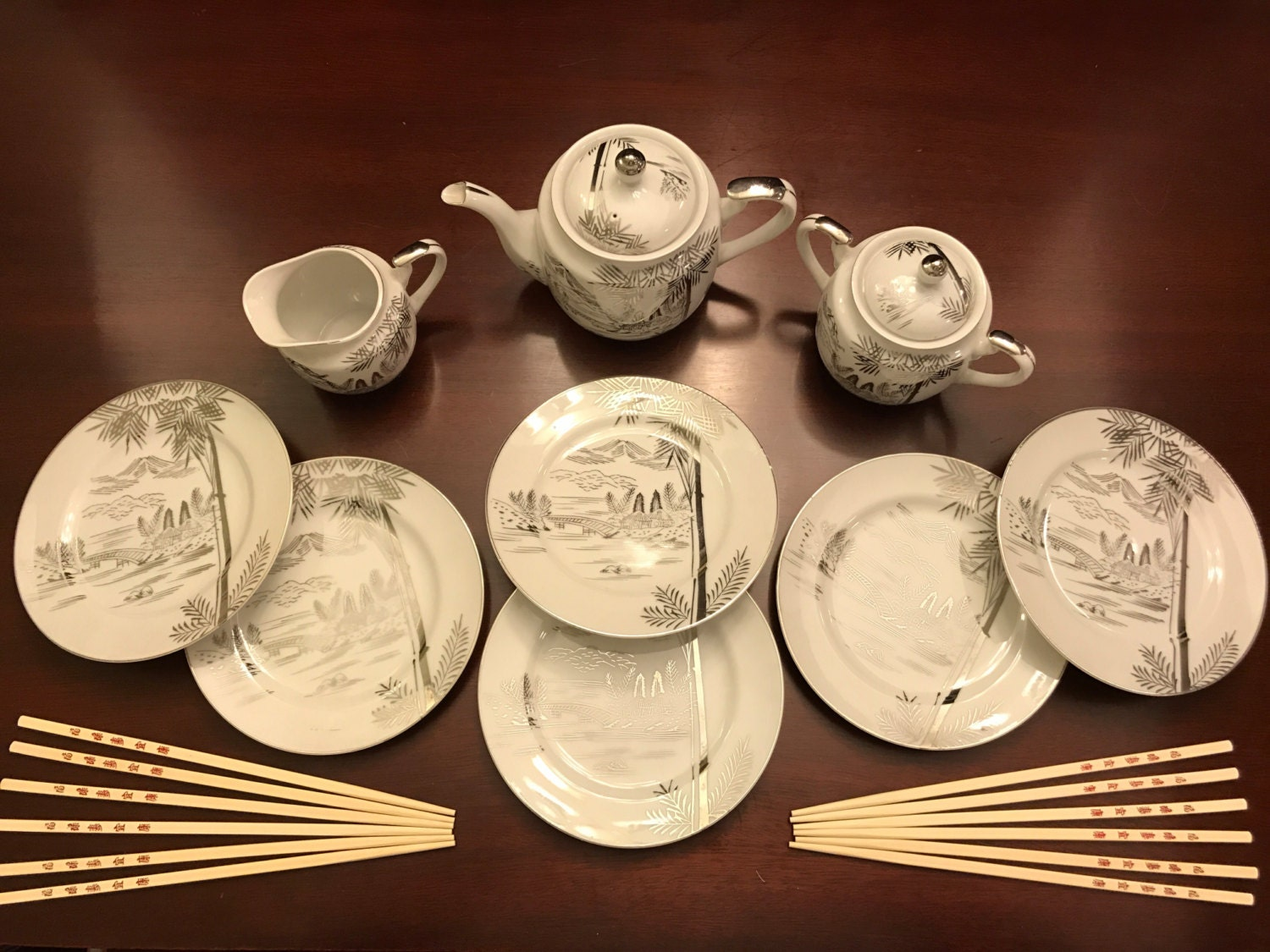 Reserved for Sharron Vintage Asian Tea Set, Hayasi by