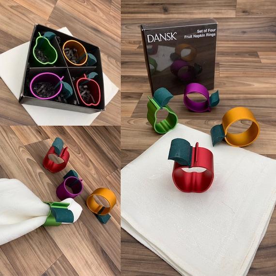 Vintage Dansk Fruit Napkin Rings, metalic Figural apple pear plum orange napkin rings, 4 piece Napkin holders, Table decor