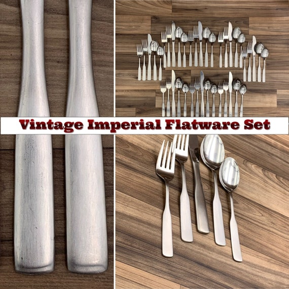 Vintage Stainless Flatware set, Fiddle Oar Handles, Imperial Kingstowne Excellent Condition Rustic Home Decor, Colonial style