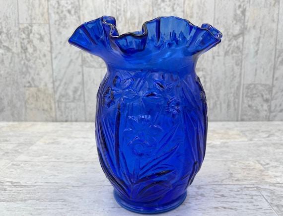 Vintage Cobalt Blue Vase, Fenton Daffodil flower glass vase, Collectible gift for her