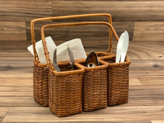 Vintage Flatware caddy, silverware holder, Basket carrying bin, Utensil caddy, Outdoor entertaining, Rustic Farmhouse decor