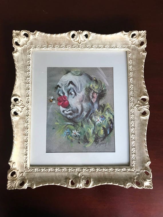 Vintage Clown Print, ornate frame, Artist Cydney Gossman, The Bumble Bee Clown Signed Cydney in Original Vintage Frame, Circus Clown Art