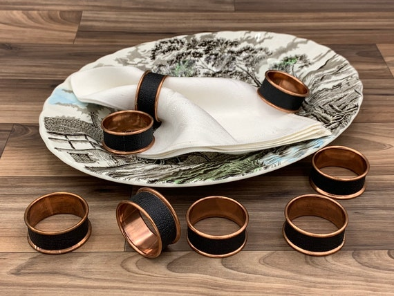 Vintage Napkin Rings, Rolled rim Copper and Black Napkin rings, 8 piece set Dinner Napkin holders