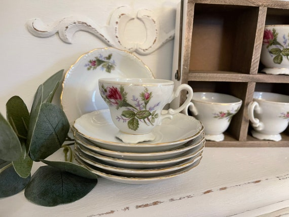Vintage Mini Teacups and saucers, Rose Tea set, Tea party, Shabby Chic, gift for her