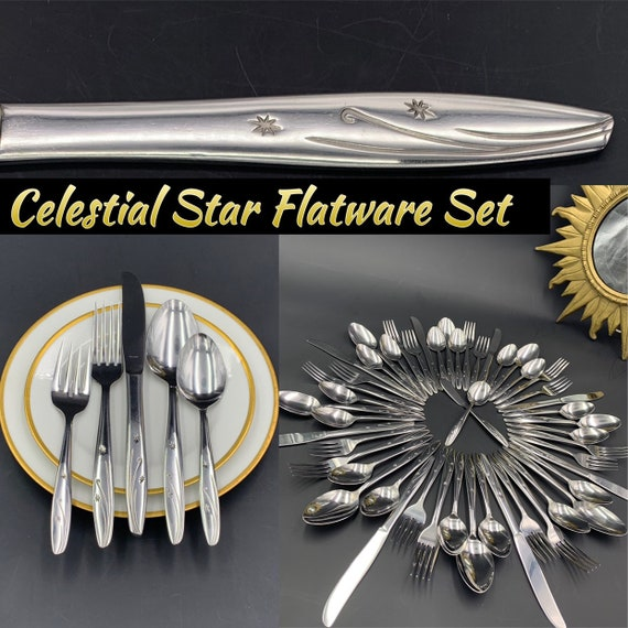 Celestial Star Flatware set Mid Century Atomic Flatware, Vintage Silverware Set Night Sky