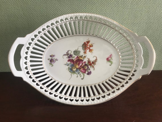 Vintage Pierced Porcelain Bowl, Floral Decal, Reticulated bowl, Oval Bowl with handles, Gold trim, German porcelain, pierced hearts, gift