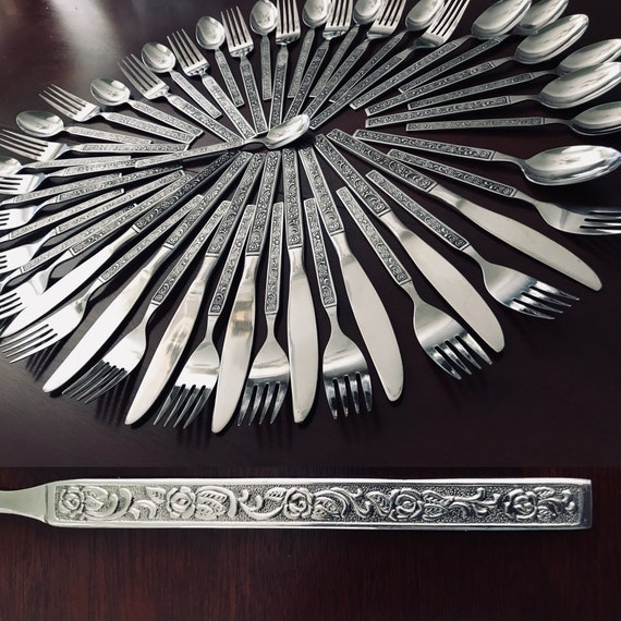 Vintage Stainless Flatware Floral embossed flatware Costellano by International Silver Co, MCM Flatware, Service for 8, Wedding gift