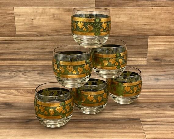 Cera Golden Grape Green Roly Poly Glasses, MCM Cera Designer Vintage drinkware, Gift for Him, Vineyard