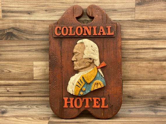 Vintage Wall Plaque, Colonial Hotel Sign, Americana Wall Art, Patriotic Rustic Home Decor