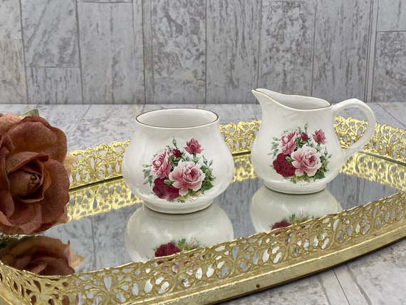 Vintage Cream and Sugar Set, Pink Rose Fine Bone China, garden Tea Party